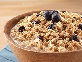 Granola with Milk and Blueberries