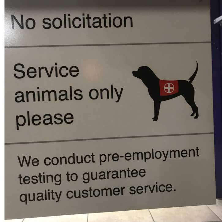Service Animals Only Sign