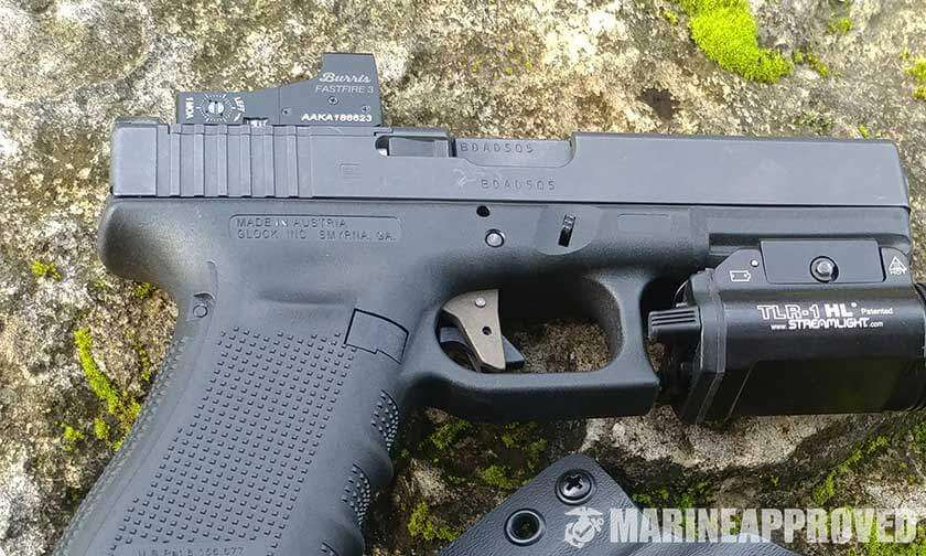 Glock Pistol with Red Dot Exposed Reflex Sight