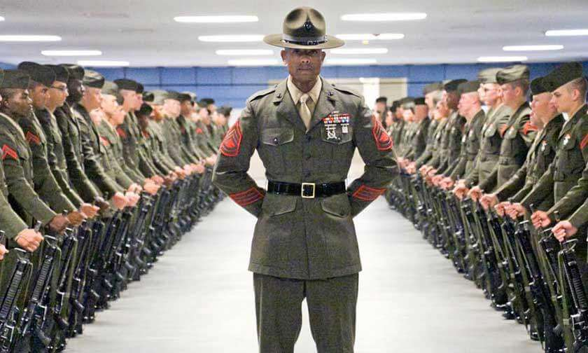 Marine Boot Camp Drill Instructor and Platoon Before Inspection