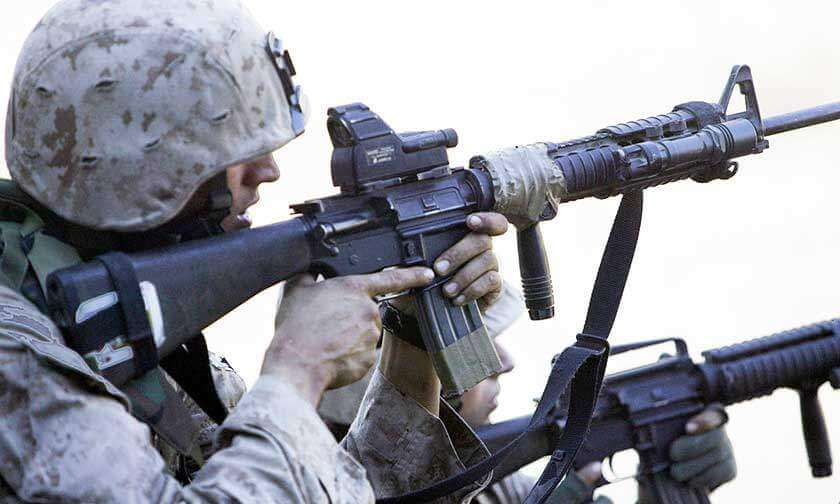 Marine Using a Red Dot Sight