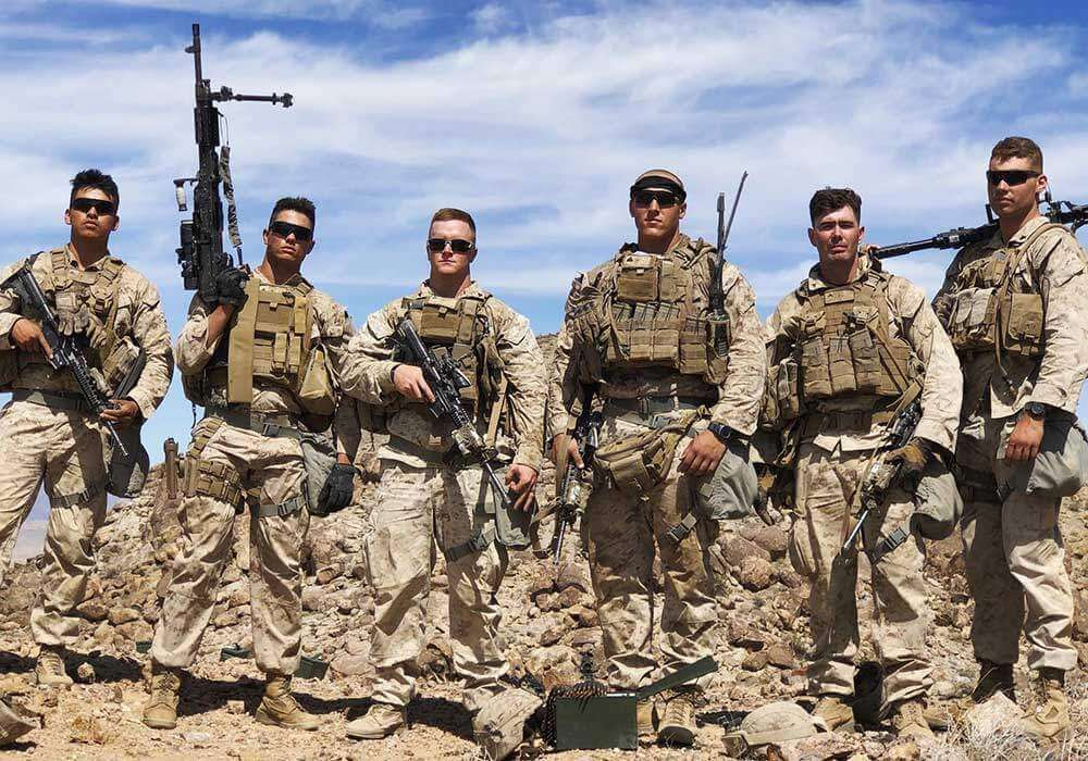 Marine Machine Gunners with Drop Leg Holsters on