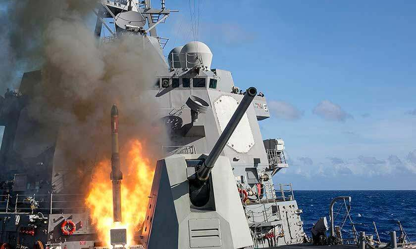 Navy Ship Launching Rocket