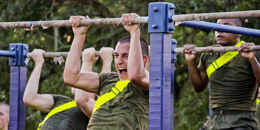 Recruit Doing Pull Ups During Basic Training