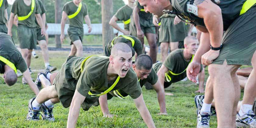 Recruit Getting Yelled at During Marine Corps Boot Camp