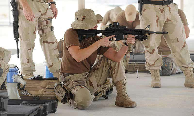Military Operator Using Tactical Foregrip