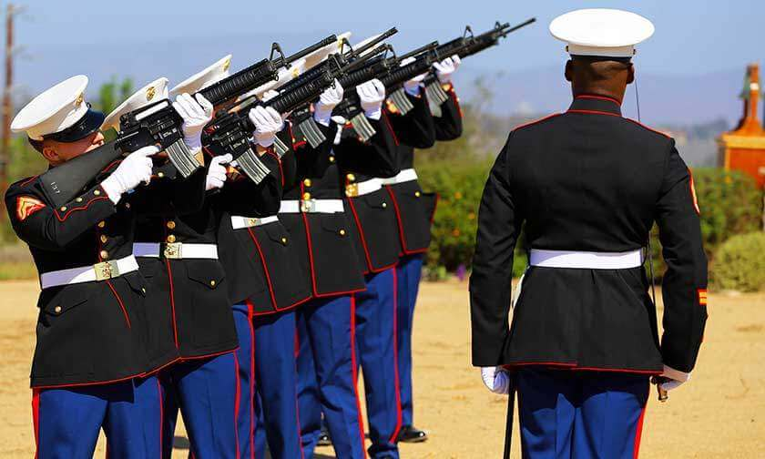 Marines in Dress Blues with Rifles