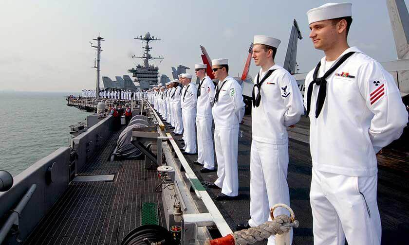 Navy Sailors on a Ship