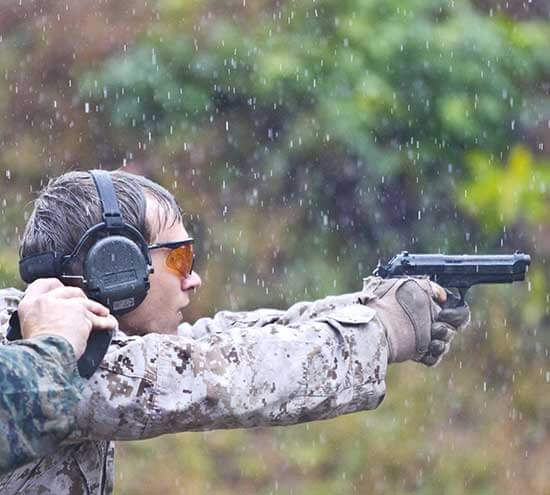 Shooting Ear Protection Being Used by a Marine