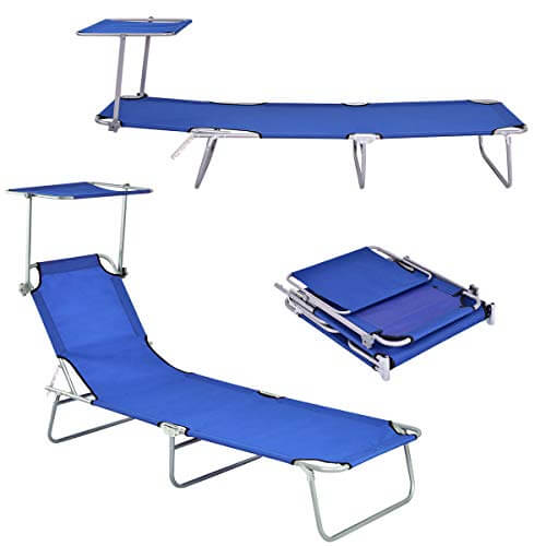 Giantex Chaise Lounge With Sun Shade