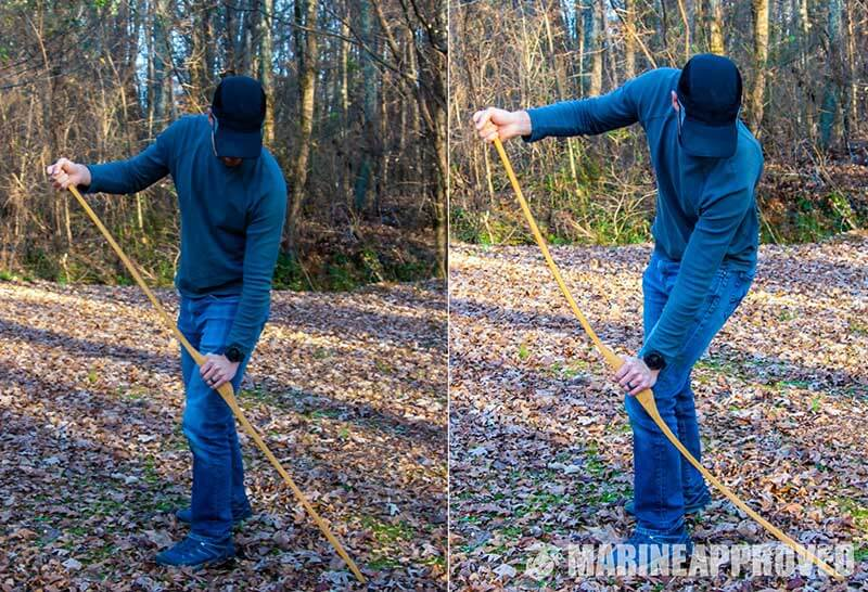 Position to have when you-floor tiller a bow and arrow