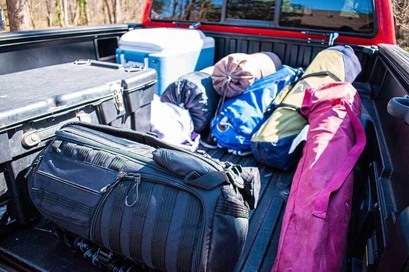 Camping Gear in the Back of a Pickup Truck