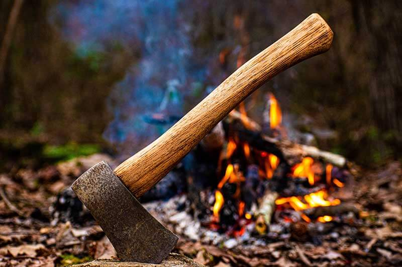 Hatchet With Fire in Background