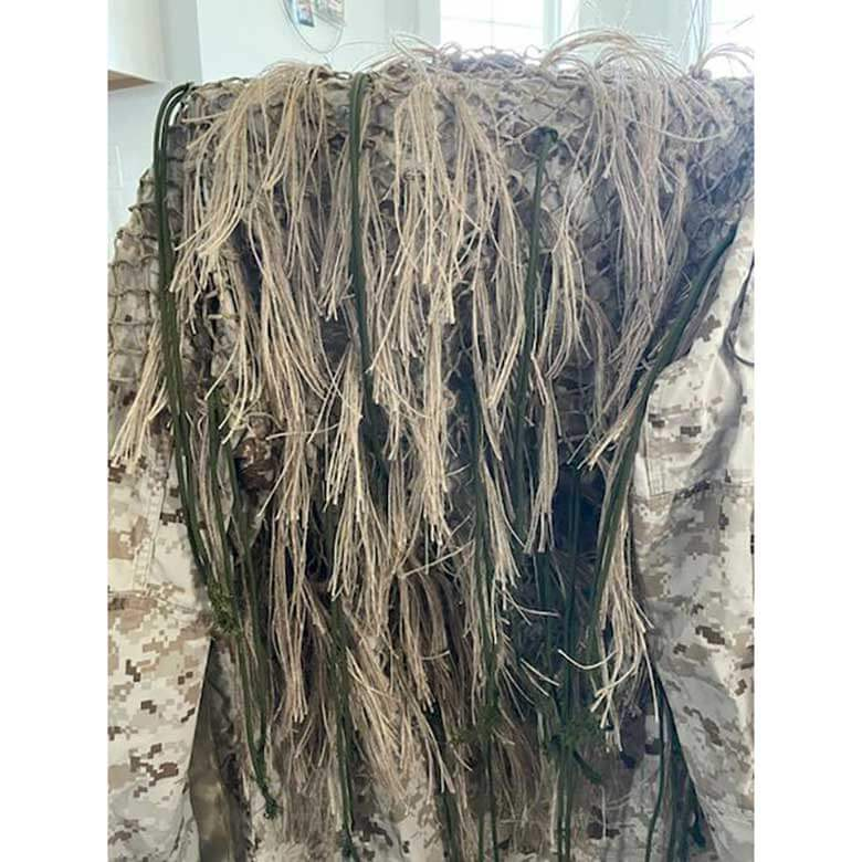 Jute and 550cord drapped over the back of a ghillie