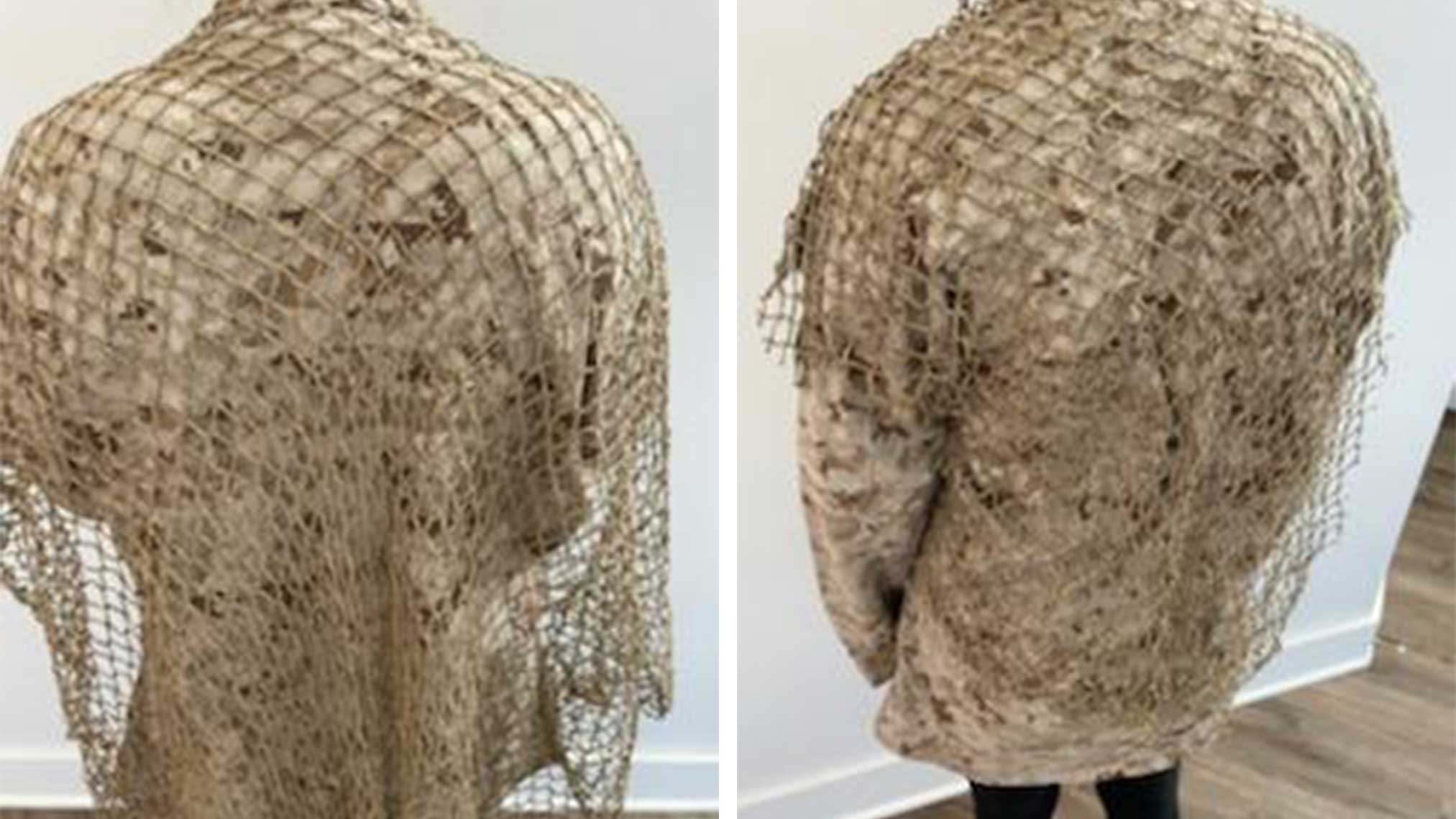 Netting Base Applied to cammies for ghillie suit