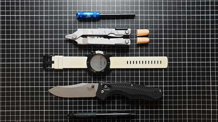 Reverse Tanto Knife with Other EDC Gear